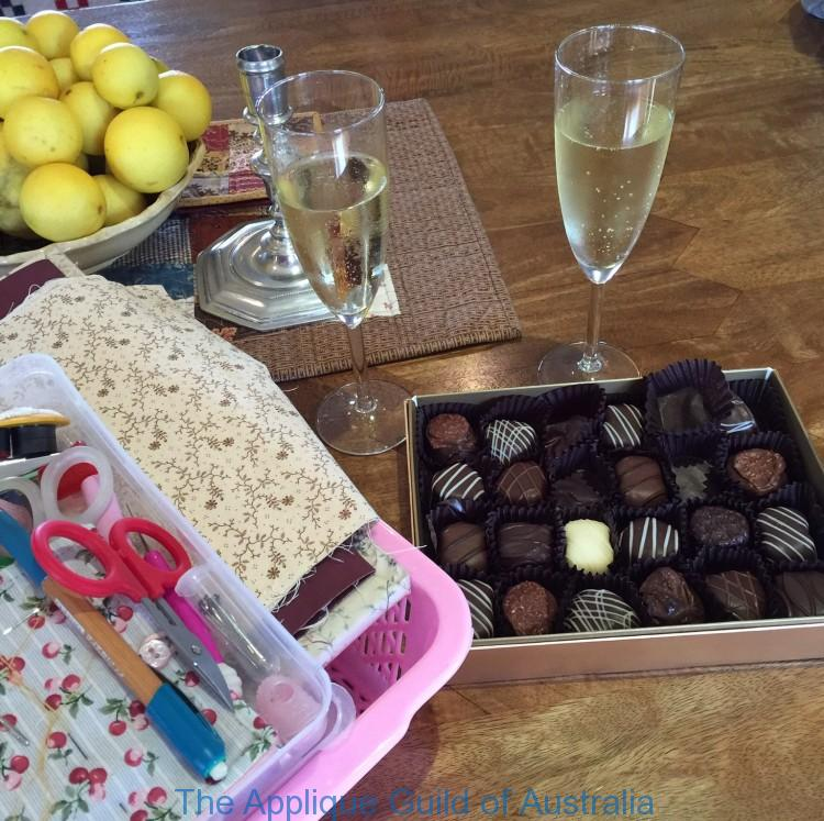 Retreat essentials....chocolate, champagne and wine.