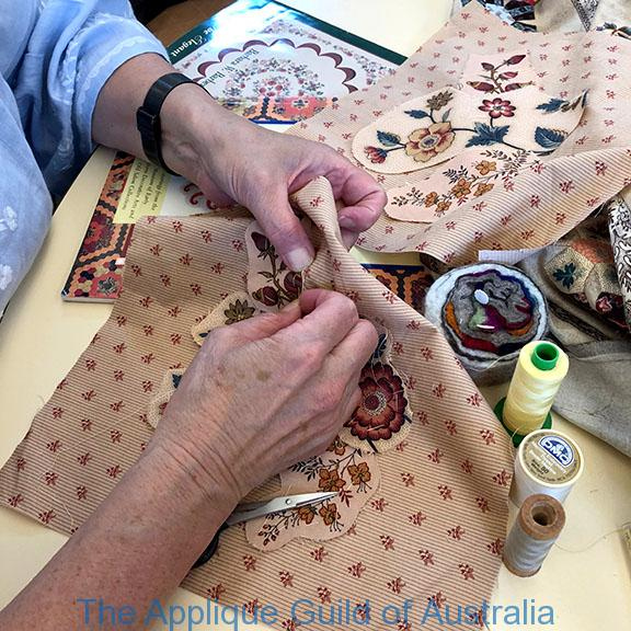 image of Margaret demonstrating Cut out Chintz applique